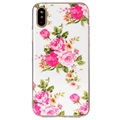 iPhone X / iPhone XS Glow in the Dark Silicone Case - Pink Flowers